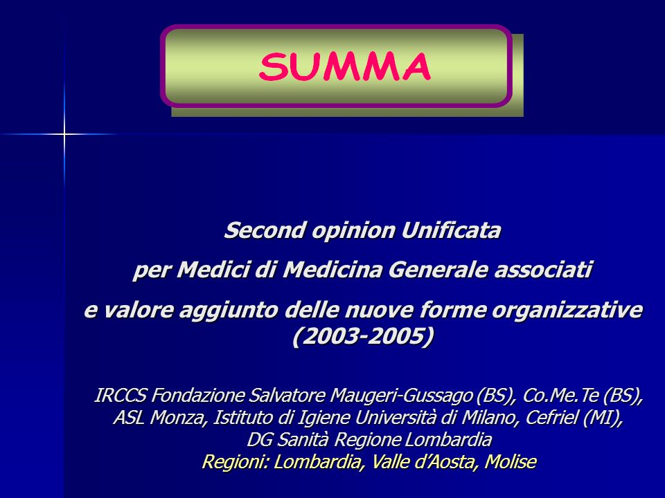 Second opinion Unificata per Medici di Medicina Generale associati