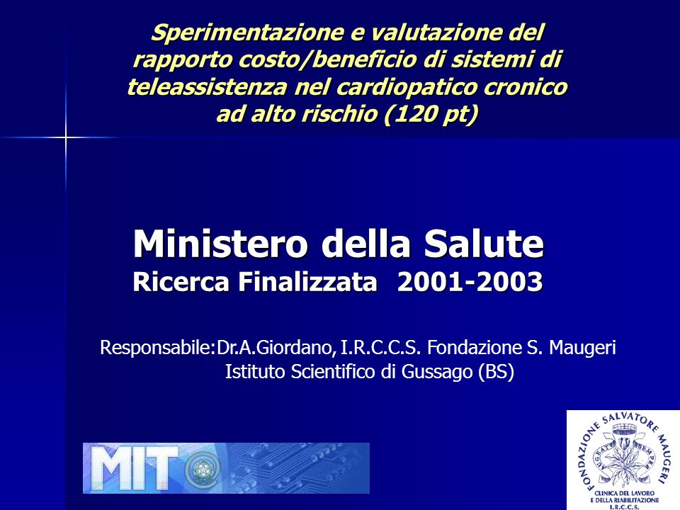Ministero della Salute Ricerca Finalizzata 2001-2003