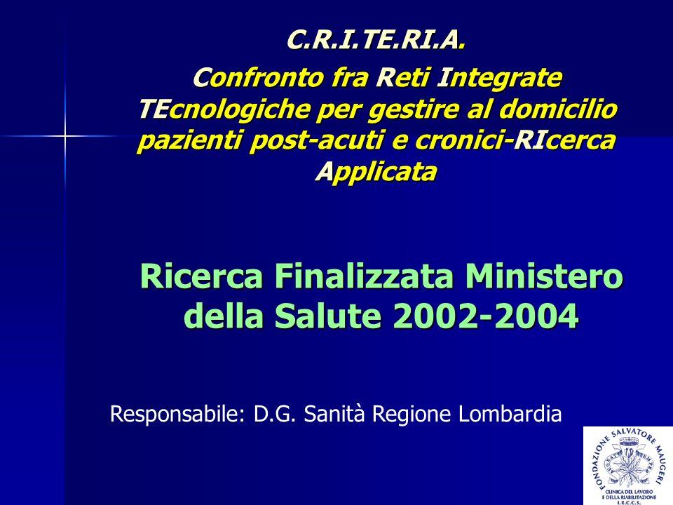 Ricerca Finalizzata Ministero della Salute 2002-2004