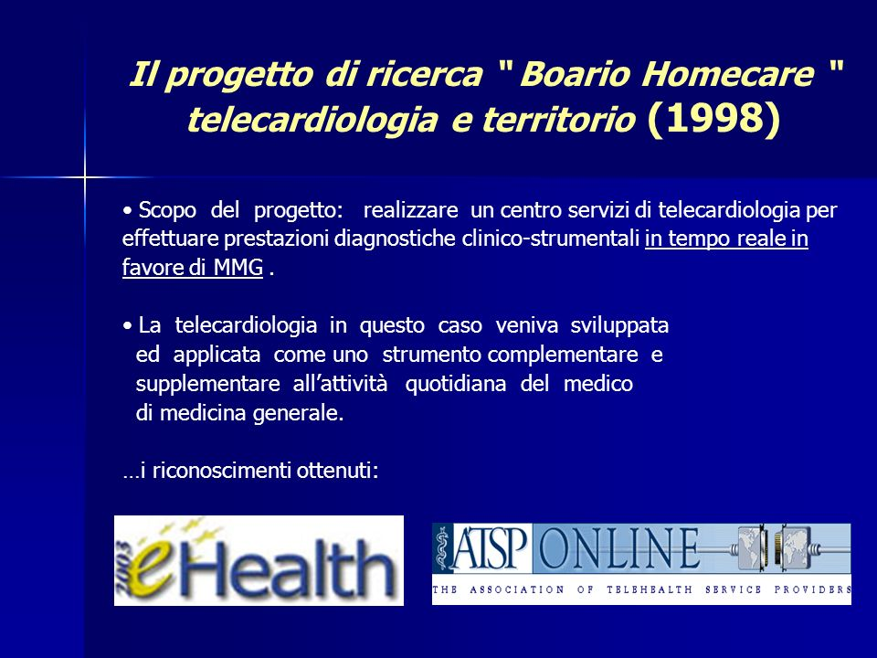 Il progetto di ricerca Boario Homecare telecardiologia e territorio (1998)