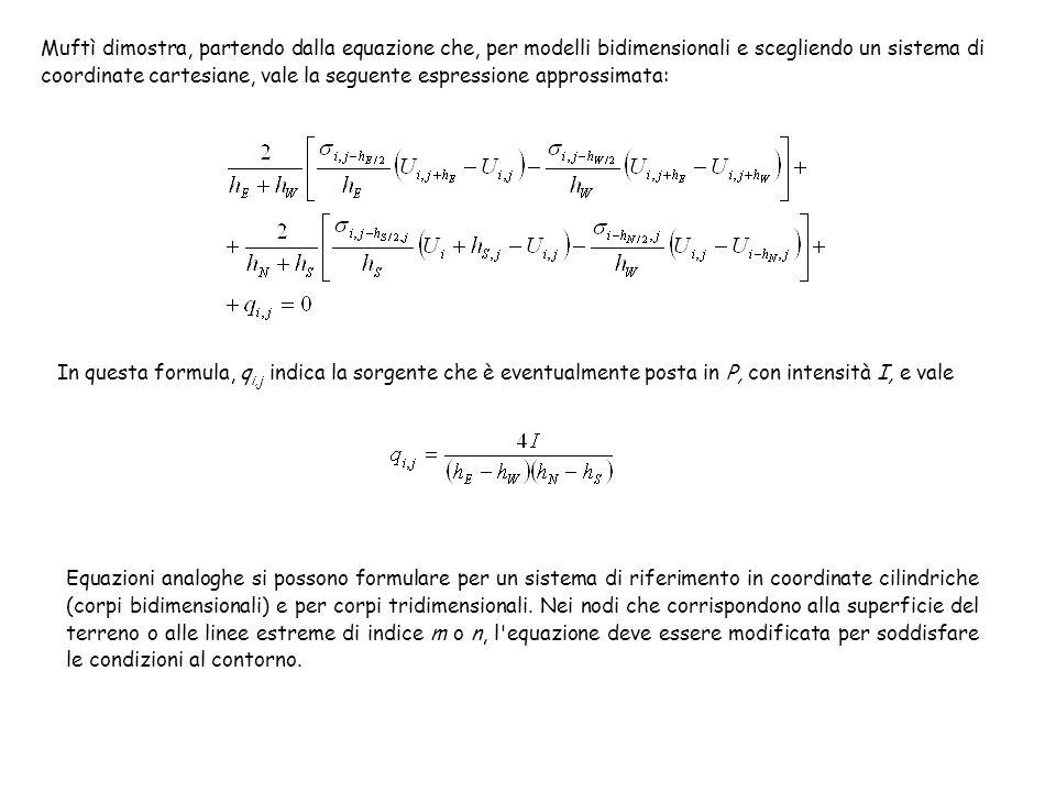Muftì dimostra, partendo dalla equazione che, per modelli bidimensionali e scegliendo un sistema di coordinate cartesiane, vale la seguente espressione approssimata: