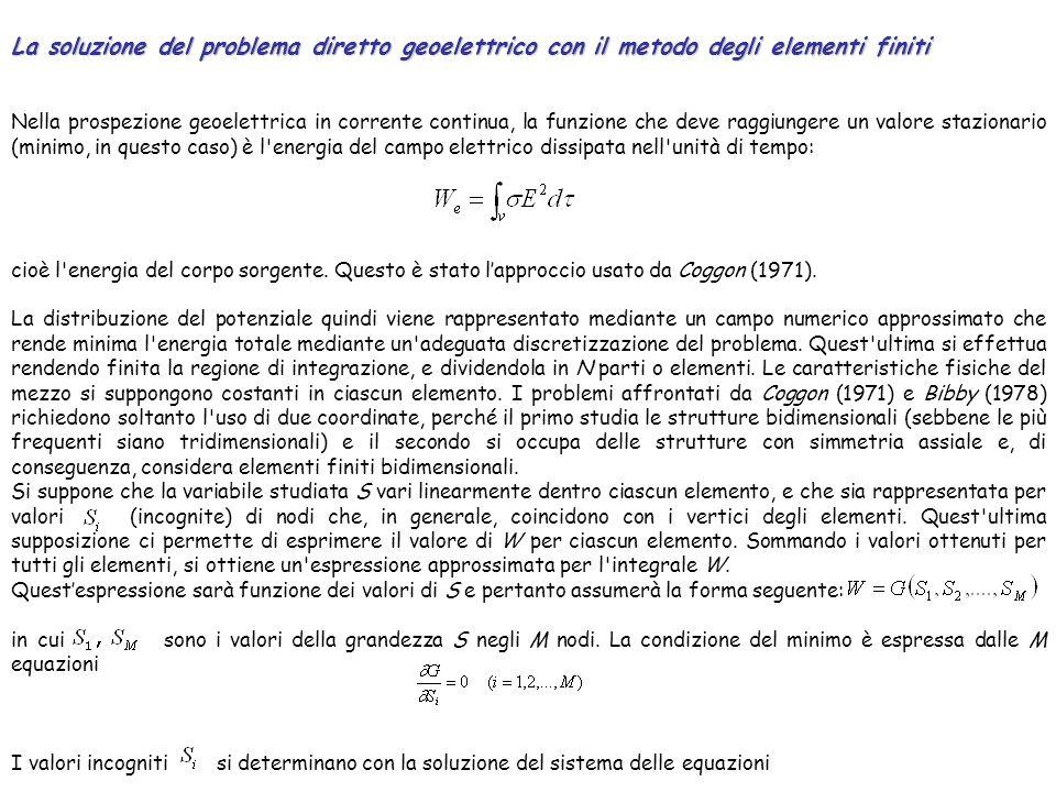 La soluzione del problema diretto geoelettrico con il metodo degli elementi finiti