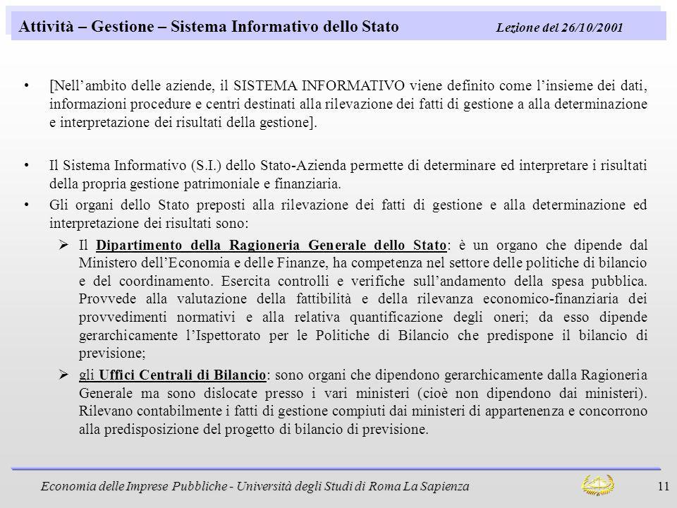 Attività – Gestione – Sistema Informativo dello Stato