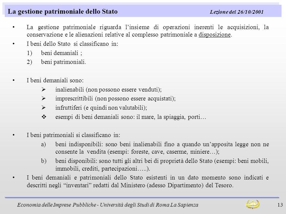 La gestione patrimoniale dello Stato Lezione del 26/10/2001