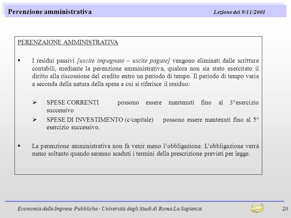 Perenzione amministrativa Lezione del 9/11/2001