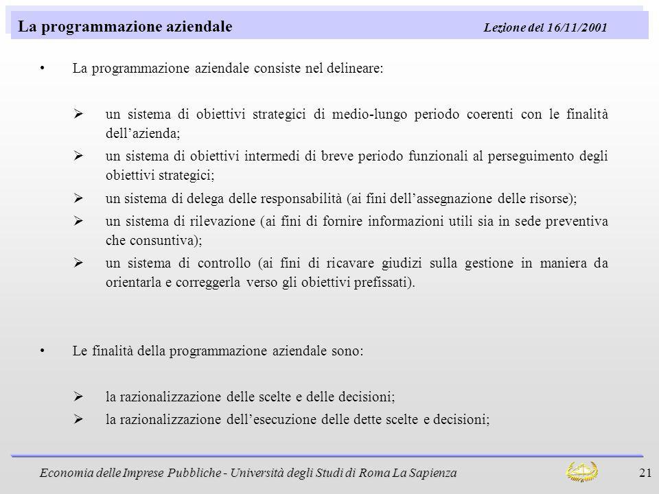La programmazione aziendale Lezione del 16/11/2001
