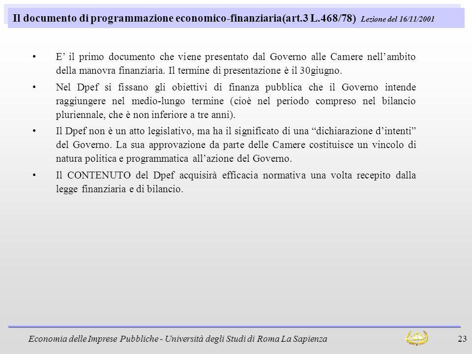 Il documento di programmazione economico-finanziaria(art. 3 L