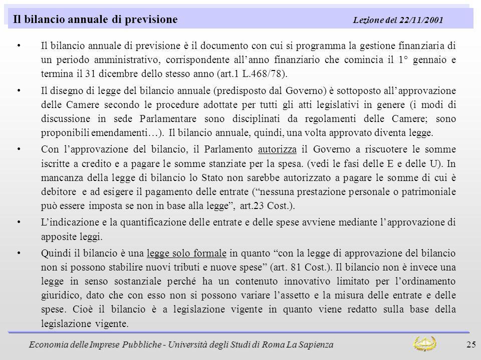 Il bilancio annuale di previsione Lezione del 22/11/2001