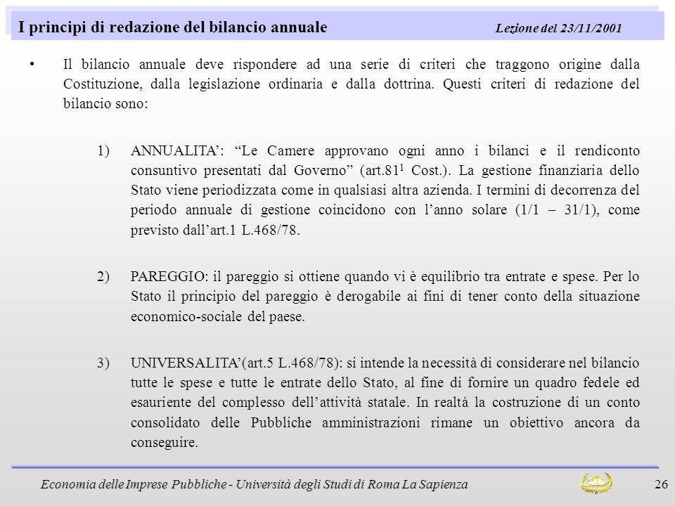 I principi di redazione del bilancio annuale Lezione del 23/11/2001