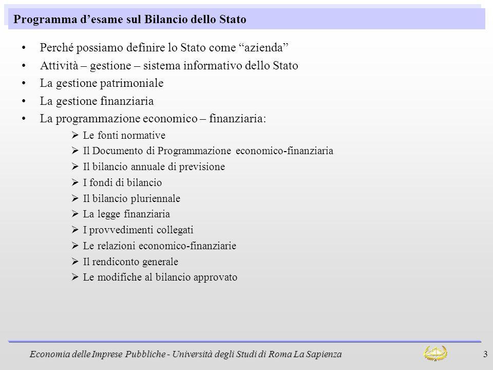 Programma d'esame sul Bilancio dello Stato