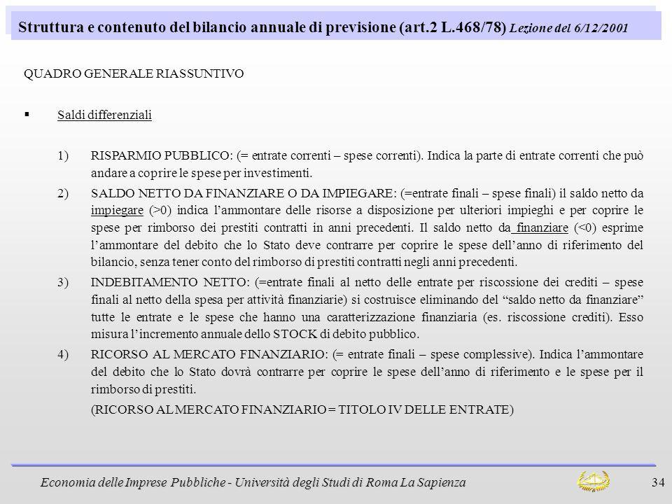 Struttura e contenuto del bilancio annuale di previsione (art. 2 L