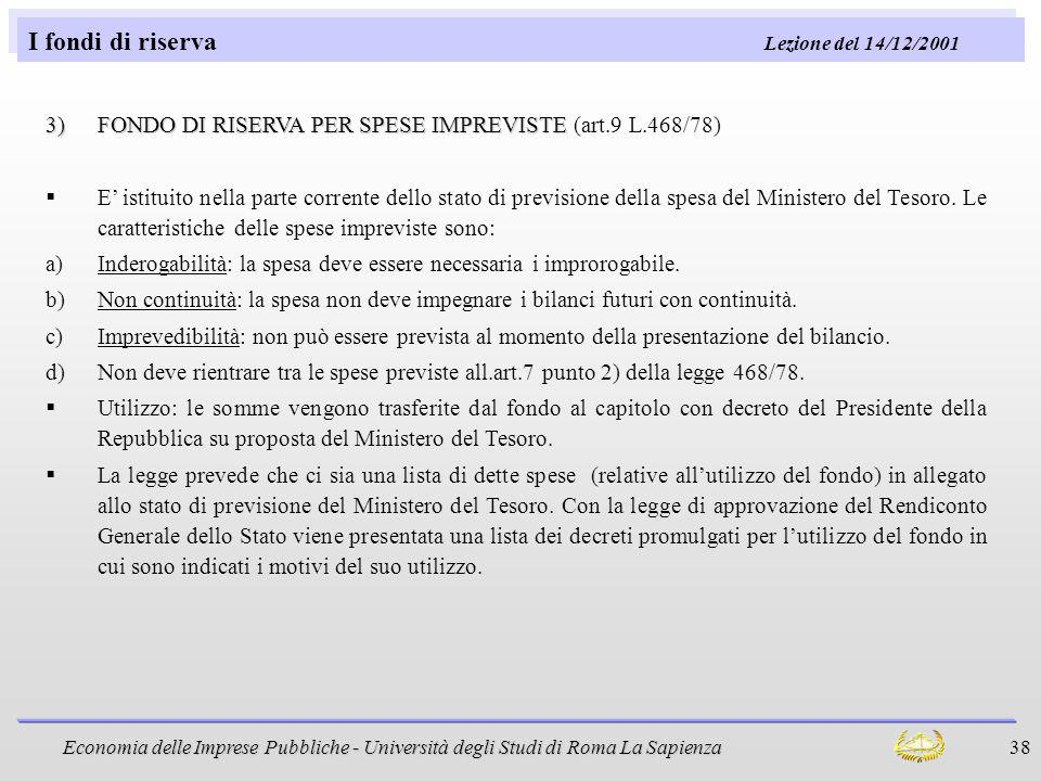 I fondi di riserva Lezione del 14/12/2001