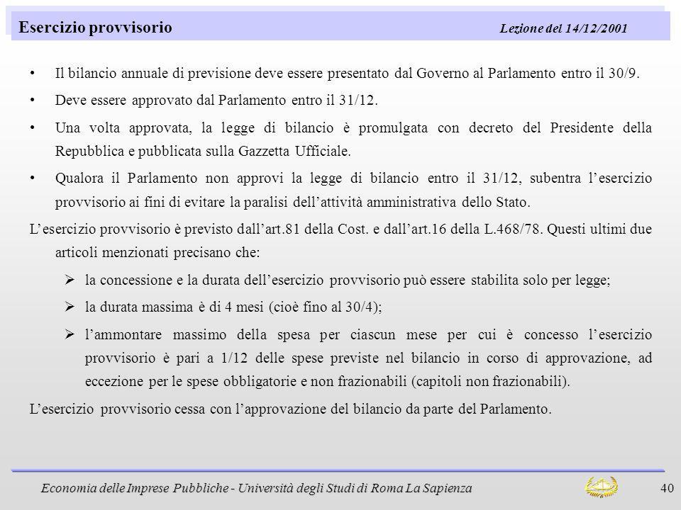 Esercizio provvisorio Lezione del 14/12/2001