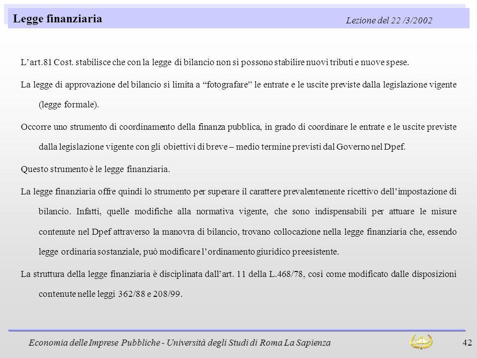 Legge finanziaria Lezione del 22 /3/2002