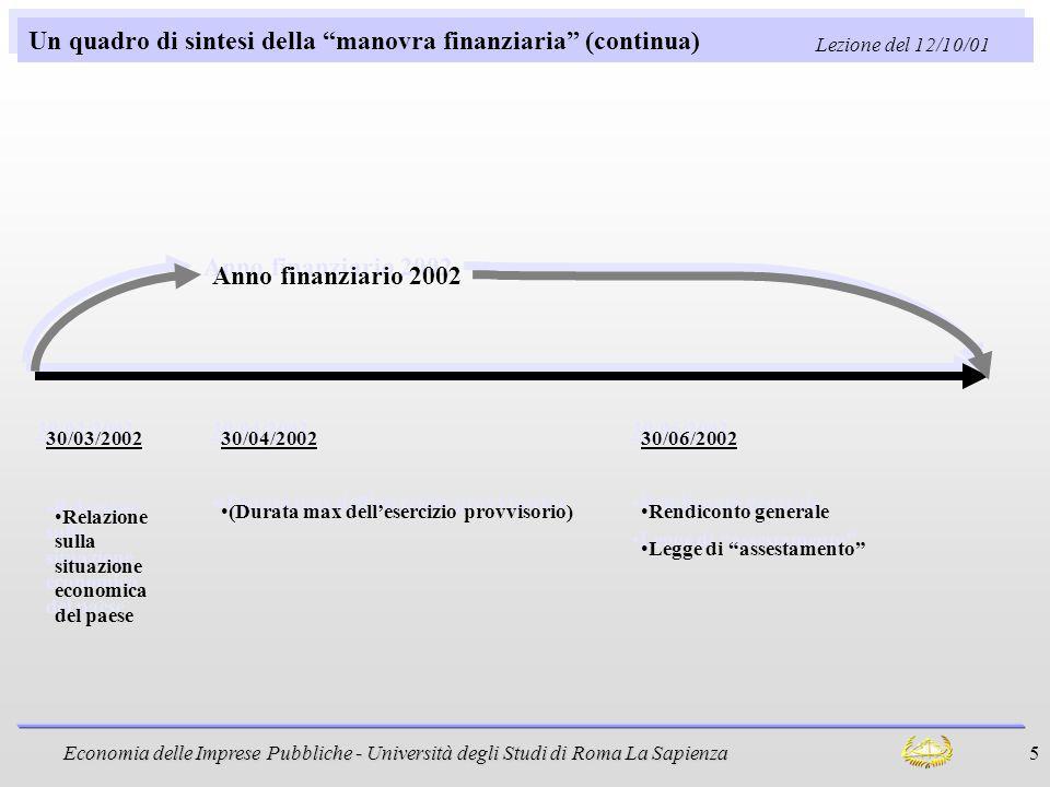 Un quadro di sintesi della manovra finanziaria (continua)