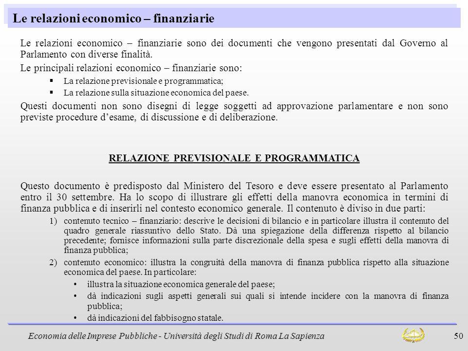 Le relazioni economico – finanziarie