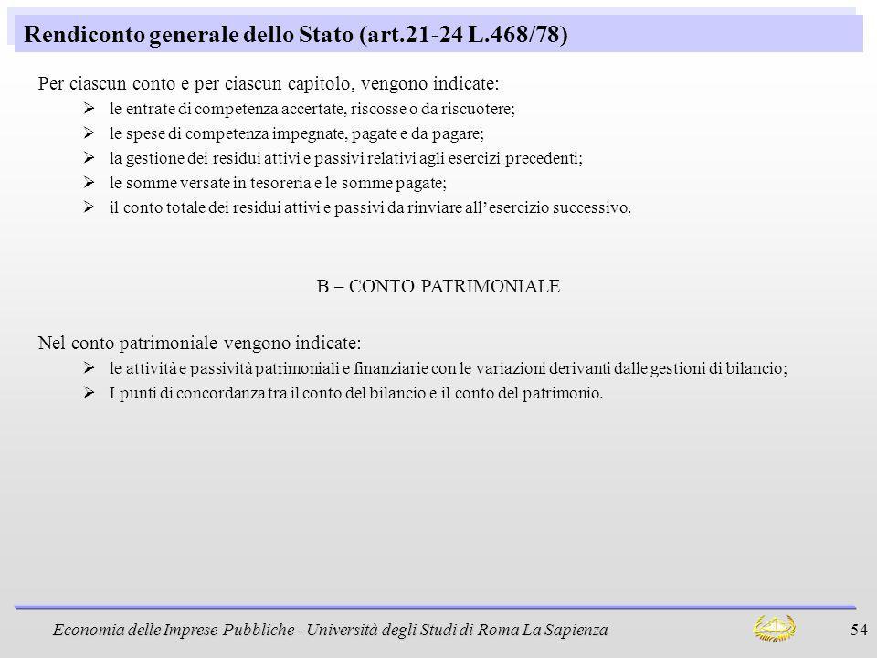 Rendiconto generale dello Stato (art.21-24 L.468/78)