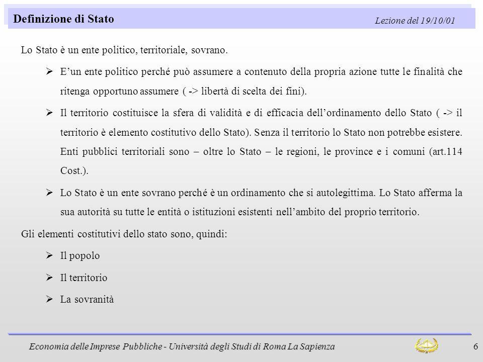 Definizione di Stato Lezione del 19/10/01. Lo Stato è un ente politico, territoriale, sovrano.
