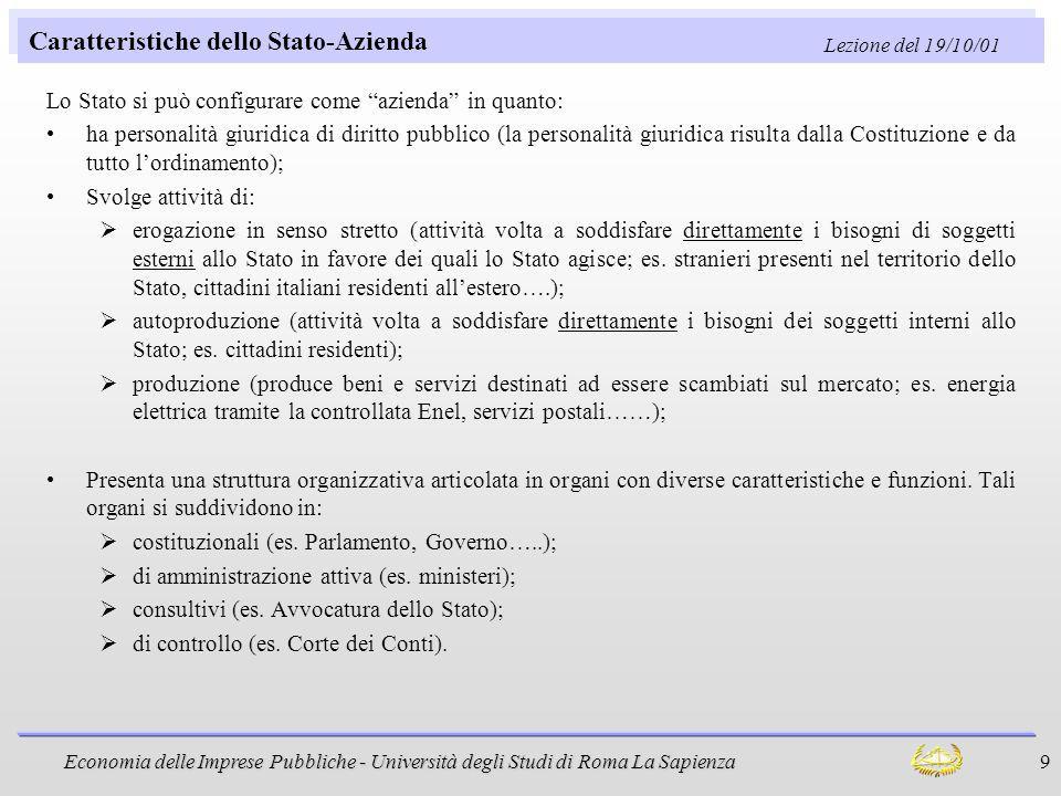 Caratteristiche dello Stato-Azienda