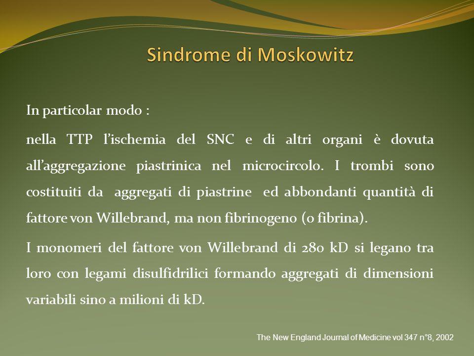Sindrome di Moskowitz In particolar modo :