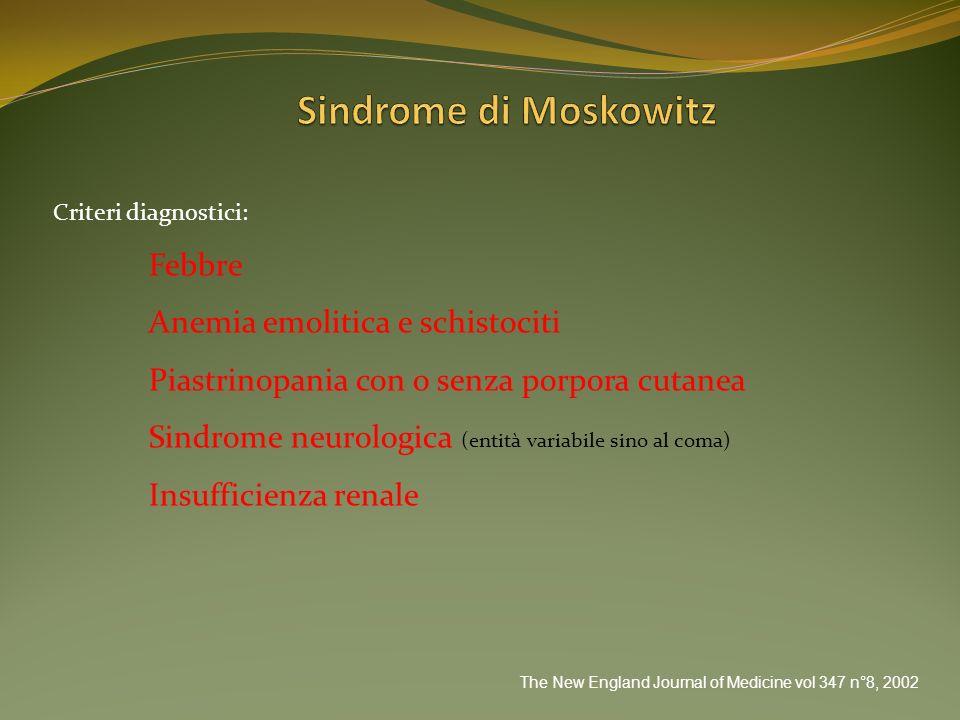 Sindrome di Moskowitz Febbre Anemia emolitica e schistociti