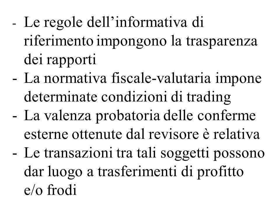 Le regole dell'informativa di. riferimento. impongono la trasparenza