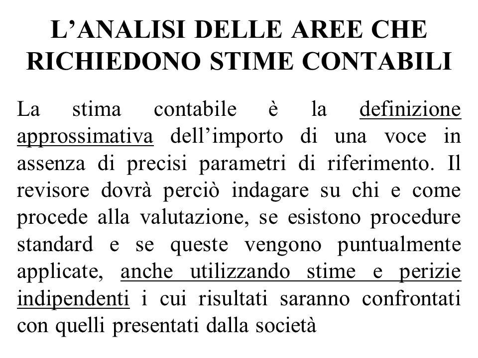 L'ANALISI DELLE AREE CHE RICHIEDONO STIME CONTABILI