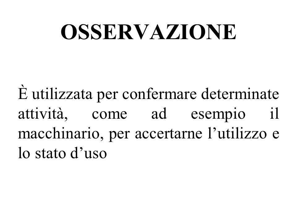 OSSERVAZIONE È utilizzata per confermare determinate attività, come ad esempio il macchinario, per accertarne l'utilizzo e lo stato d'uso.