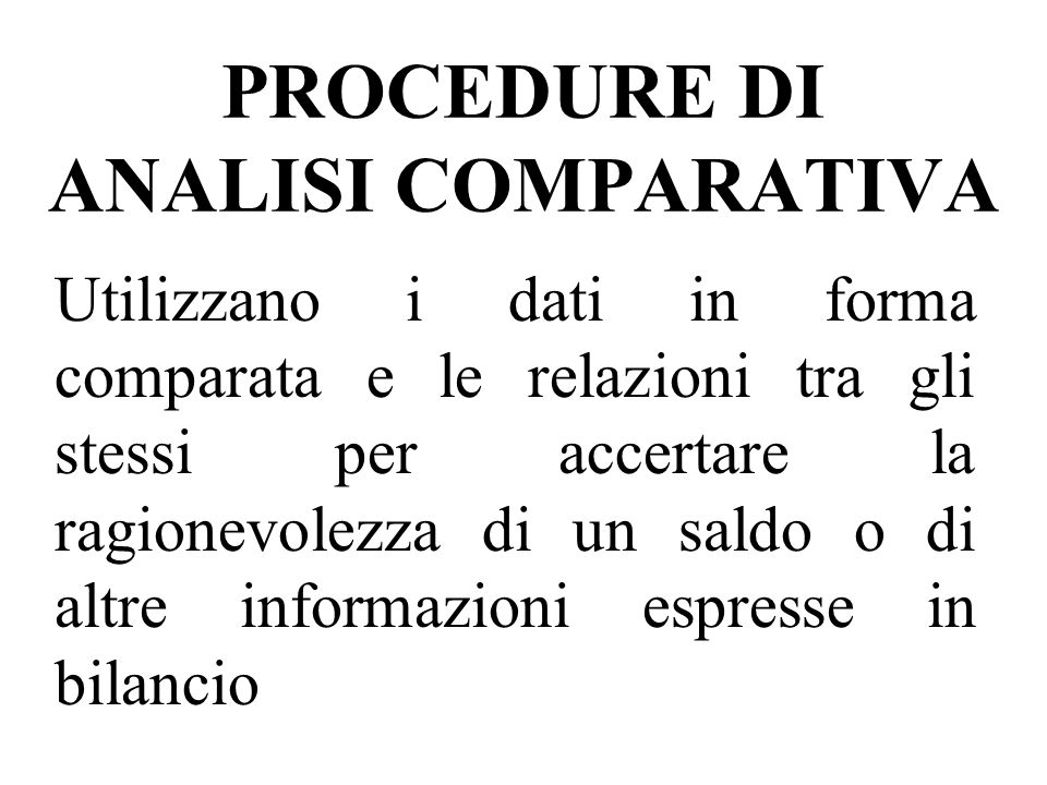 PROCEDURE DI ANALISI COMPARATIVA