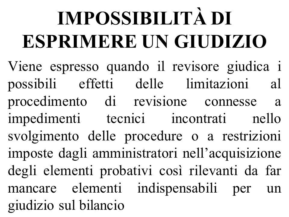 IMPOSSIBILITÀ DI ESPRIMERE UN GIUDIZIO