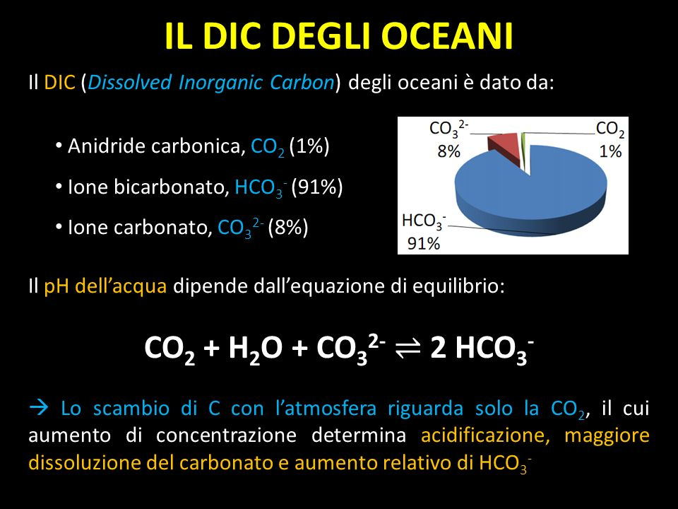 IL DIC DEGLI OCEANI CO2 + H2O + CO32- ⇌ 2 HCO3-