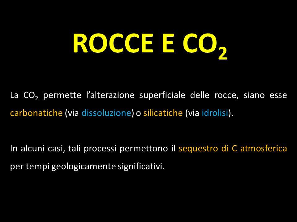 ROCCE E CO2 La CO2 permette l'alterazione superficiale delle rocce, siano esse carbonatiche (via dissoluzione) o silicatiche (via idrolisi).