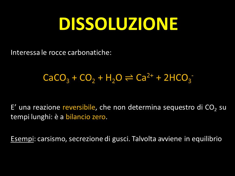 DISSOLUZIONE CaCO3 + CO2 + H2O ⇌ Ca2+ + 2HCO3-
