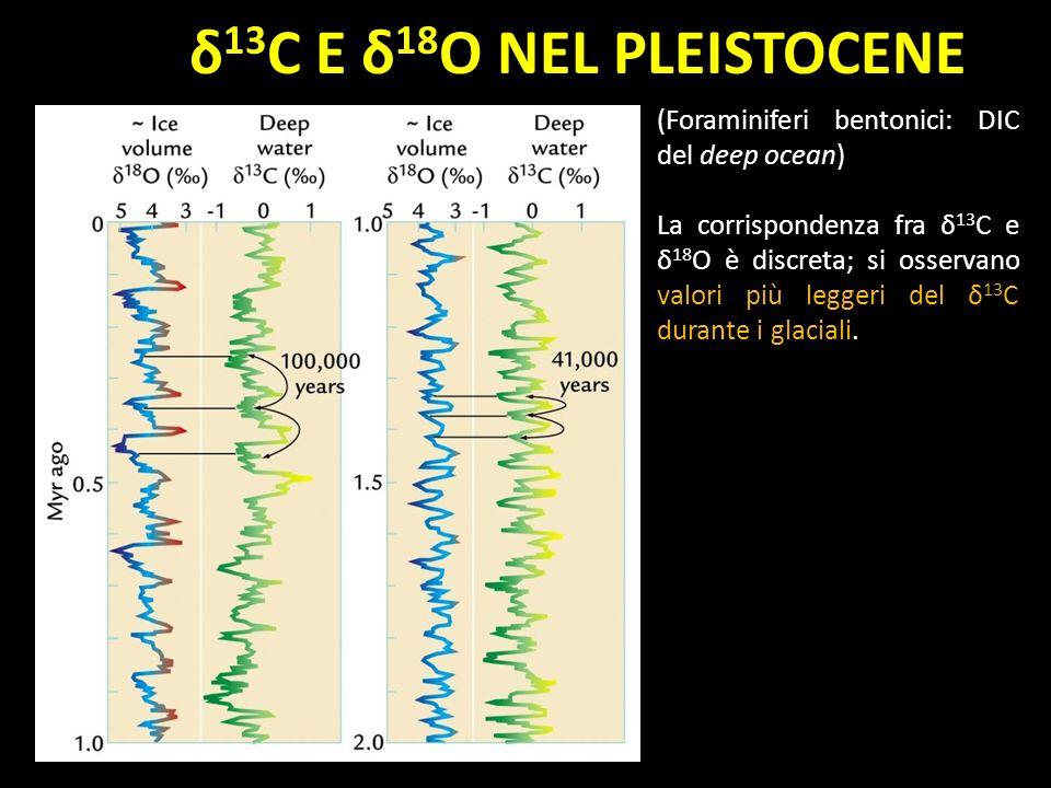 δ13C E δ18O NEL PLEISTOCENE (Foraminiferi bentonici: DIC del deep ocean)