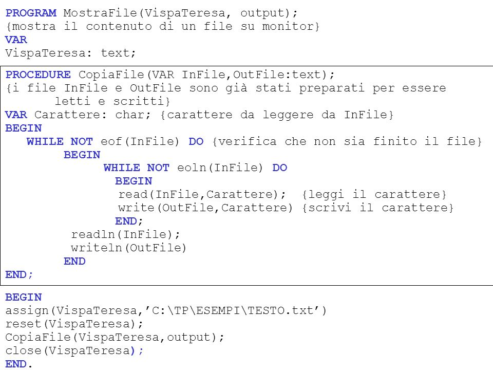 PROGRAM MostraFile(VispaTeresa, output);