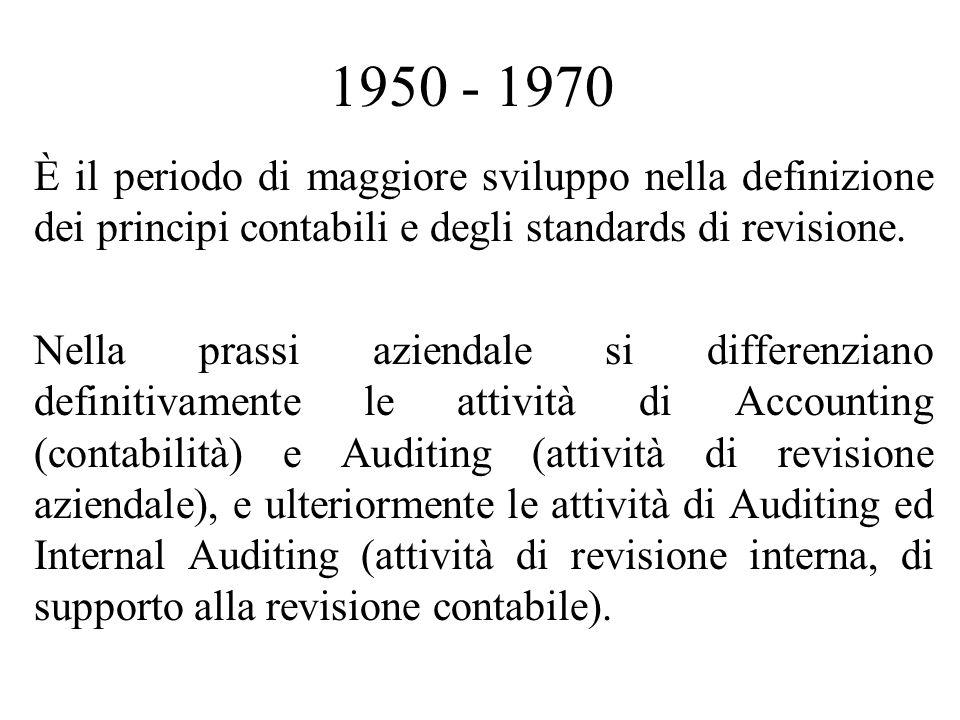 1950 - 1970 È il periodo di maggiore sviluppo nella definizione dei principi contabili e degli standards di revisione.