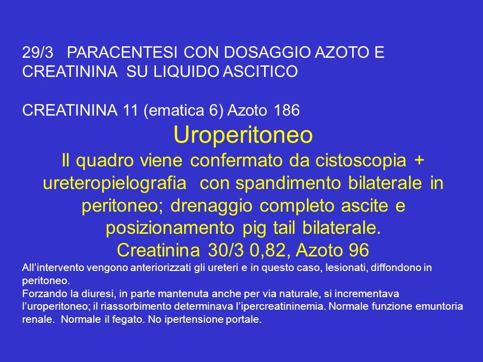 29/3 PARACENTESI CON DOSAGGIO AZOTO E CREATININA SU LIQUIDO ASCITICO