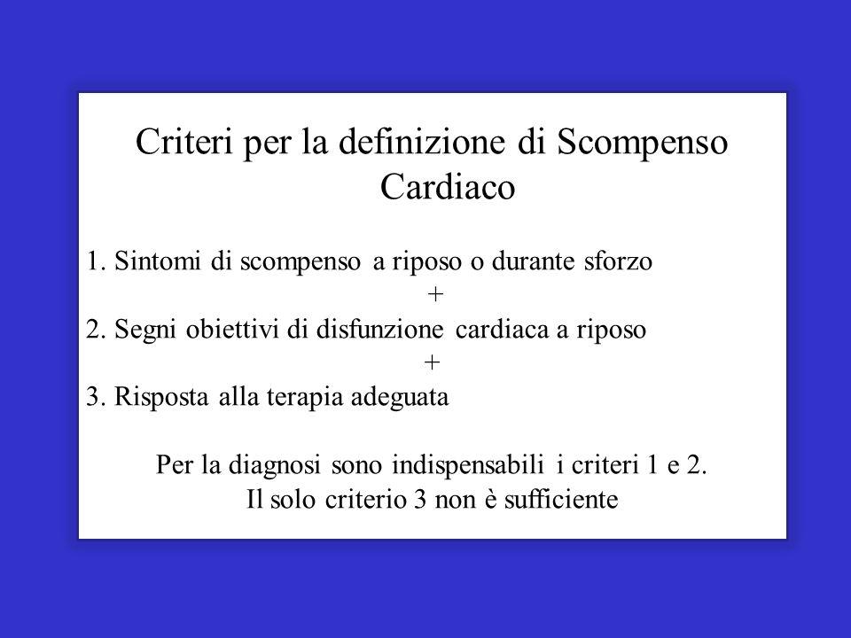 Criteri per la definizione di Scompenso Cardiaco