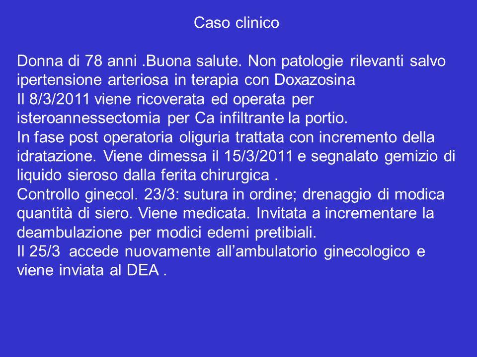 Caso clinico Donna di 78 anni .Buona salute. Non patologie rilevanti salvo. ipertensione arteriosa in terapia con Doxazosina.