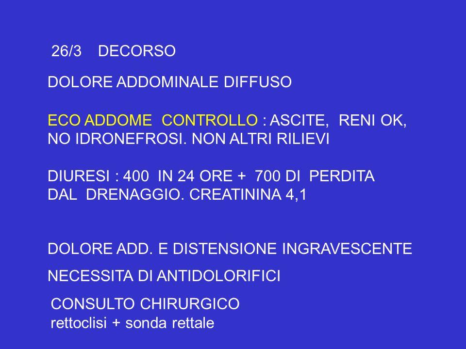26/3 DECORSODOLORE ADDOMINALE DIFFUSO. ECO ADDOME CONTROLLO : ASCITE, RENI OK, NO IDRONEFROSI. NON ALTRI RILIEVI.