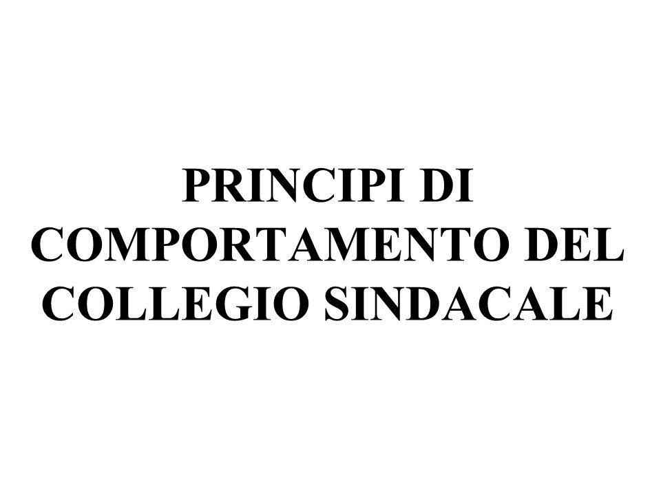 PRINCIPI DI COMPORTAMENTO DEL COLLEGIO SINDACALE