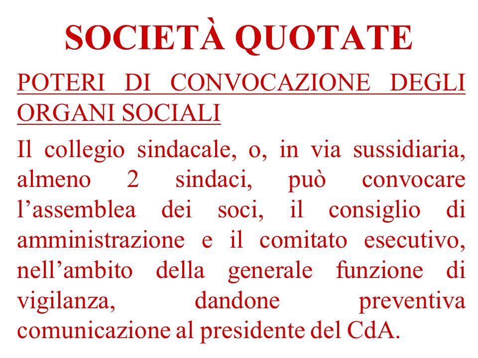 SOCIETÀ QUOTATE POTERI DI CONVOCAZIONE DEGLI ORGANI SOCIALI