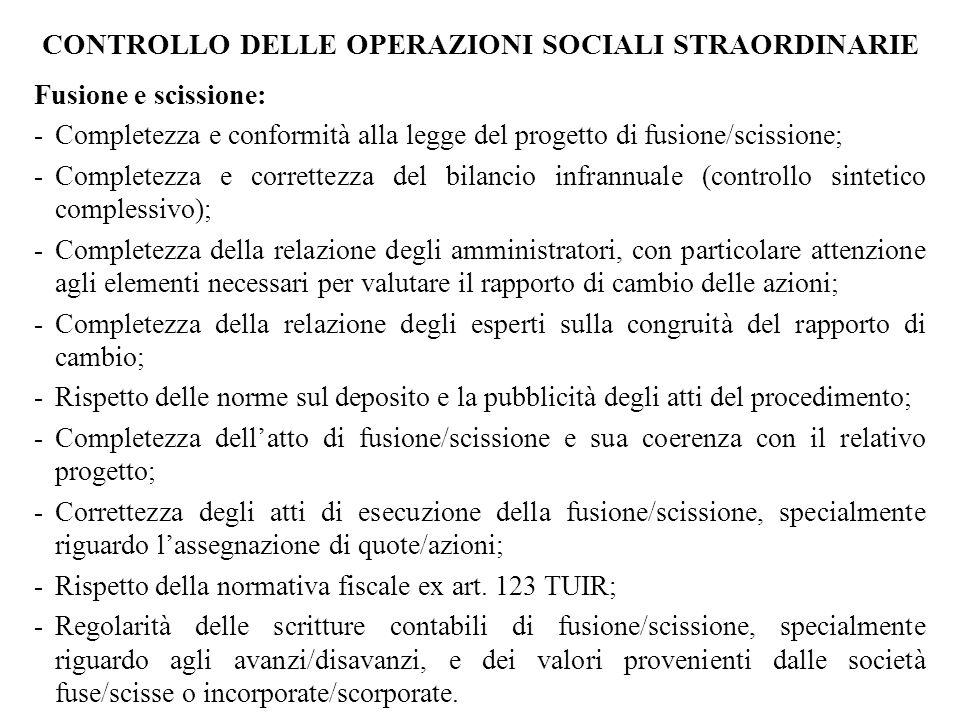 CONTROLLO DELLE OPERAZIONI SOCIALI STRAORDINARIE