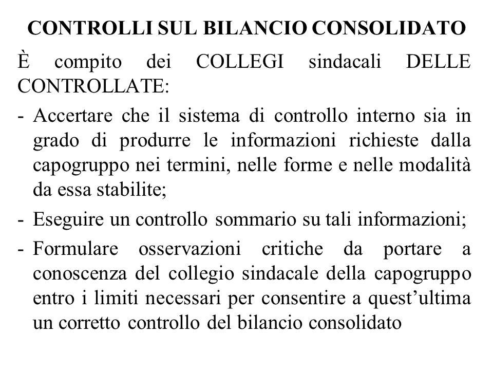 CONTROLLI SUL BILANCIO CONSOLIDATO