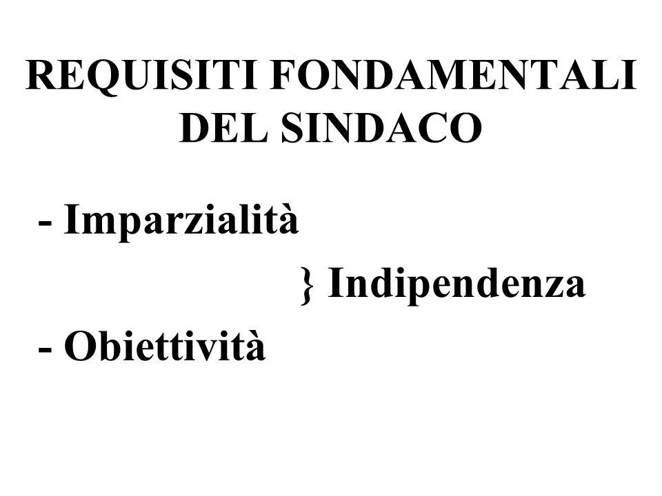 REQUISITI FONDAMENTALI DEL SINDACO