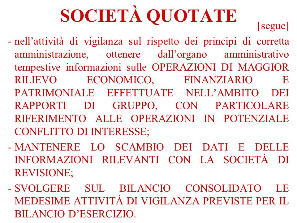 SOCIETÀ QUOTATE [segue]