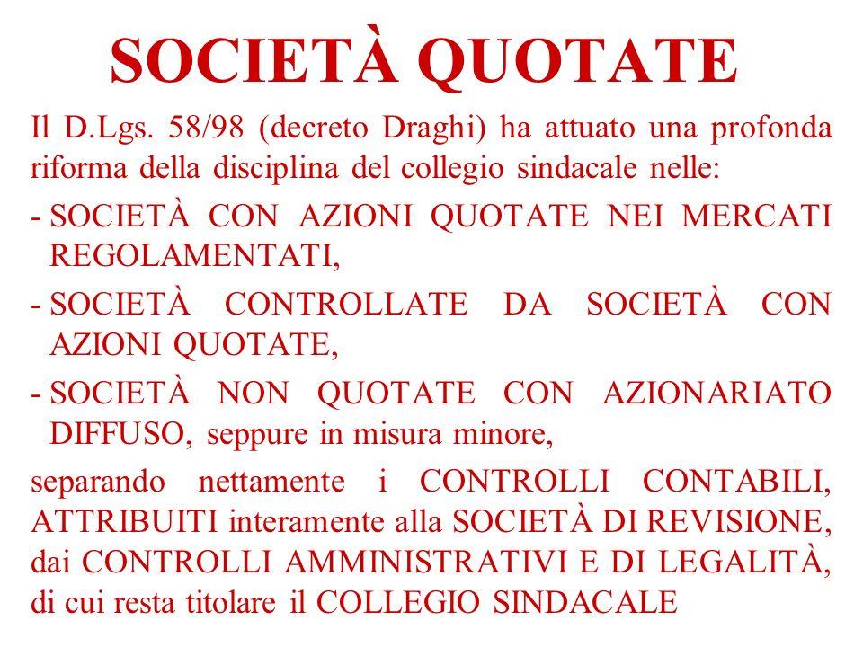 SOCIETÀ QUOTATE Il D.Lgs. 58/98 (decreto Draghi) ha attuato una profonda riforma della disciplina del collegio sindacale nelle: