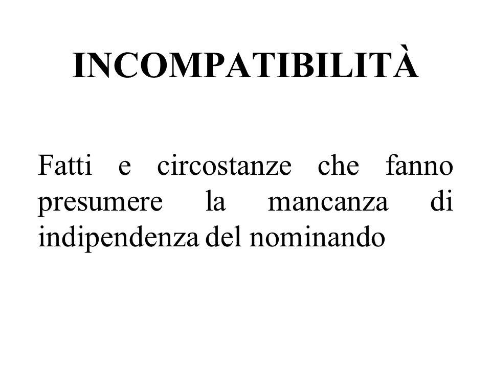 INCOMPATIBILITÀ Fatti e circostanze che fanno presumere la mancanza di indipendenza del nominando