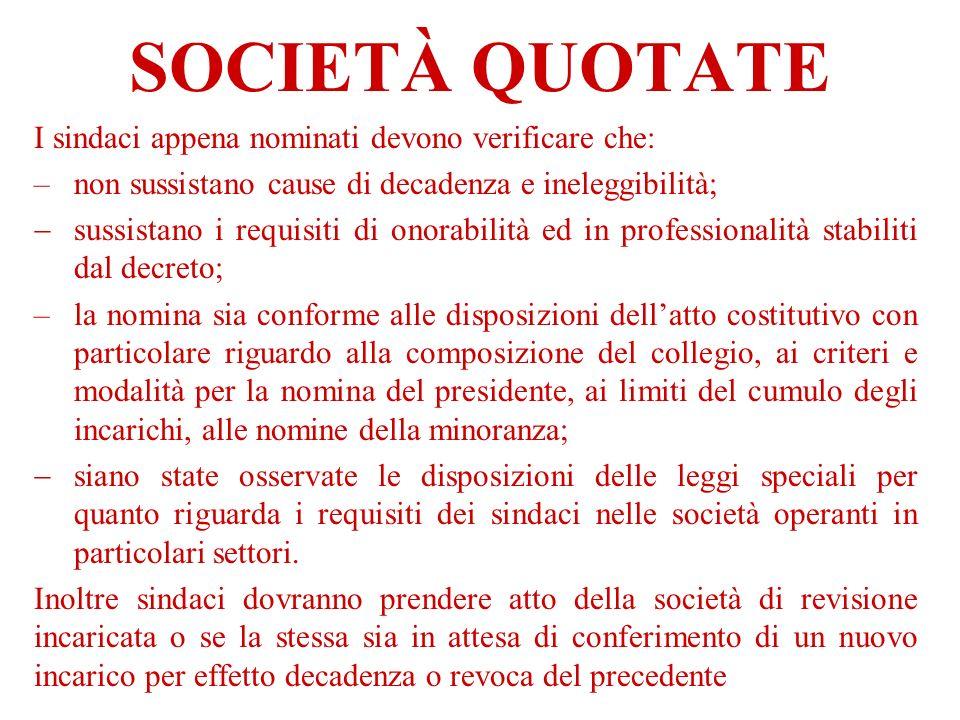 SOCIETÀ QUOTATE I sindaci appena nominati devono verificare che: