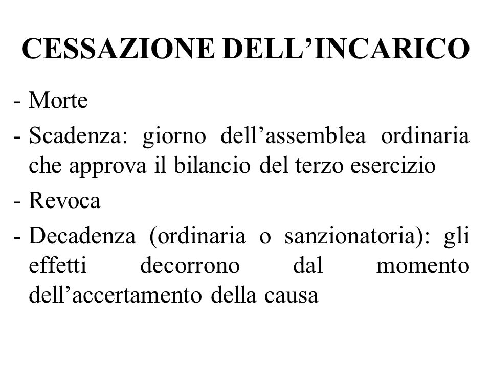 CESSAZIONE DELL'INCARICO